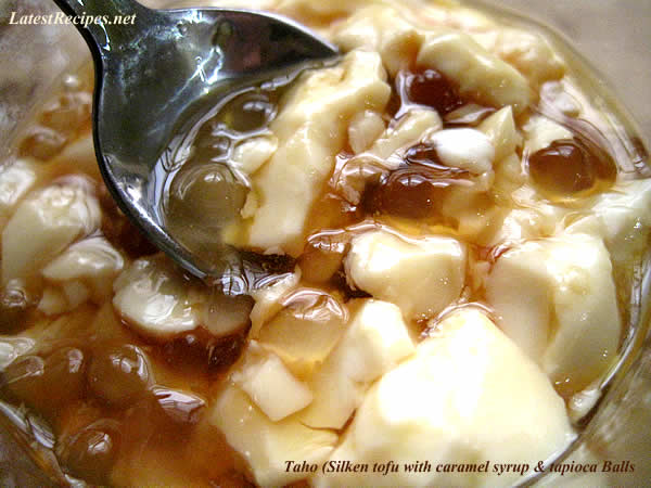 Taho (Silken Tofu with caramel syrup and tapioca Balls)