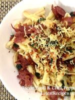 Bacon basil and chili pepper Pasta